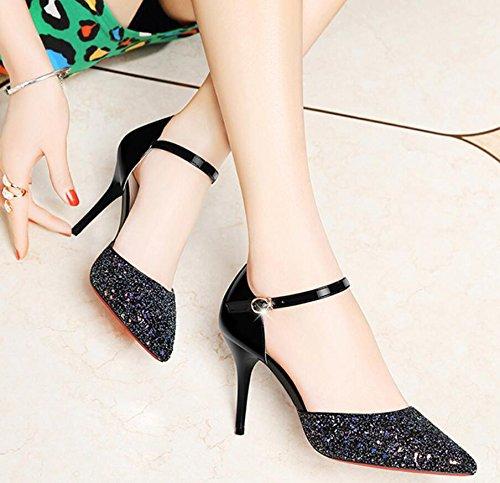 KHSKX-Nueva Multa Tacones Y Zapatos De Tacon Alto Y Bajo Espejo Señaló Ayuda Zapatos Zapatos Tacones Con Las Mujeres Delgadas 39 Negro 39 black