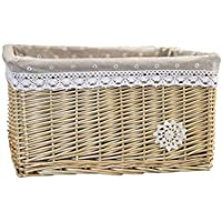djgfj Primary Color Storage Basket Willow Rattan Storage