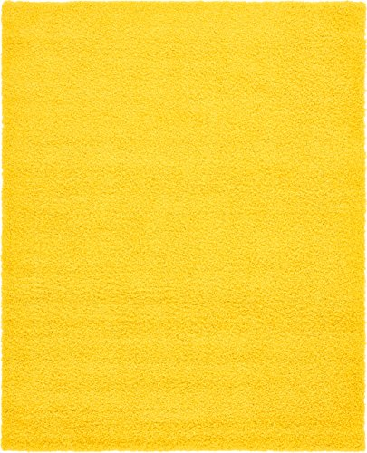 Unique Loom Solid Shag Collection Tuscan Sun Yellow 8 x 10 Area Rug (8' x 10')