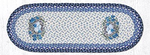 地球ラグジュートテーブルランナーEarthラグop-541ブルーBirds Nest Ovalパッチランナー13