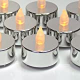 Silver Tealight Candles - Set of 24 Flameless LED Metallic Silver Candles with Flickering Flame - Silver Decorations - Silver Wedding Decorations - Graduation Parties - No Flame Candles