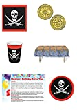 Pirate Birthday Party Supplies - Treasure Map Tablecloth, Pirate Plates, Pirate Cups, Pirate Napkins, and Pirate Coins - Pirate Toys Party Favors - Pirate Birthday Party Supplies Decor - Bundle