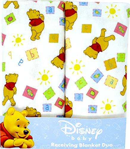 Disney Winnie The Pooh Receiving Blankets. Two Pack Of Varied Prints and Styles. Boy 30' x 30' ... (Varied Style)