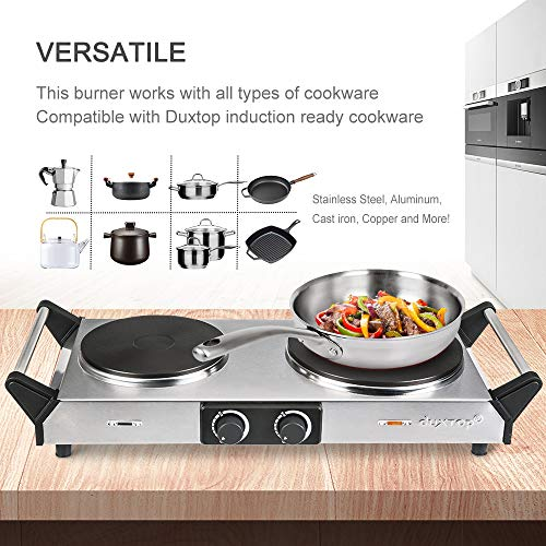 Duxtop Hot Plate Double Cast-Iron Electric Burner Cooktop with Adjustable Temperature Control, 1800W, Metal Housing, Indicator Light(2 year warranty) by Duxtop (Image #3)