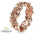 Leaf Design Rose Gold Wedding Ring 14k Rose Gold Wedding Band Commitment Ring
