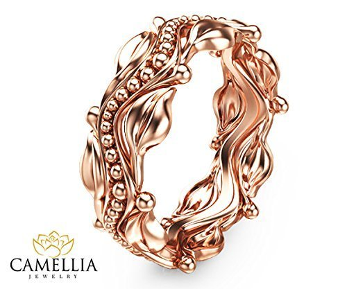Leaf Design Rose Gold Wedding Ring 14k Rose Gold Wedding Band Commitment Ring by Camellia-Jewelry