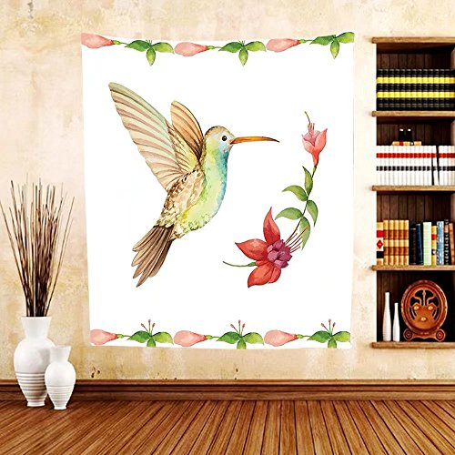 Gzhihine Custom tapestry Hummingbirds Decorations Tapestry Two Hummingbirds Sip Nectar From A Trumpet Vine Blossoms Summertime Bedroom Living Room Dorm Decor - Green Nectar Ohio