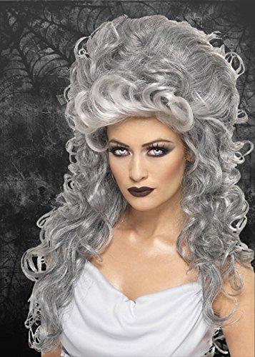 Ladies Gothic Grey Curly Beehive Wig (Womens Ghostly Wig)