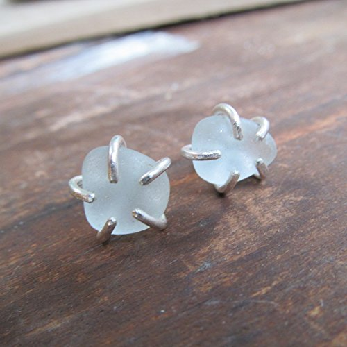 Beach Sea Beach Glass Stud Earrings Silver in Bridal White- Diana Anton Jewelry - Uneven Glasses