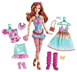 Mattel Y7501- Barbie Fashionista: muñeca de pelo castaño con magnífico vestuario