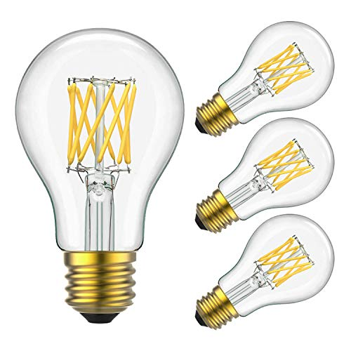 Yiizon LED Filament Bulb 10W (100W Equivalent), Classic Edison A19/A60 LED Light Bulbs, E26 Medium Base Lamp, 4000K Daylight (Neutral White), 1000 Lumens,Dimmable LED Edison Bulbs, Pack of 4