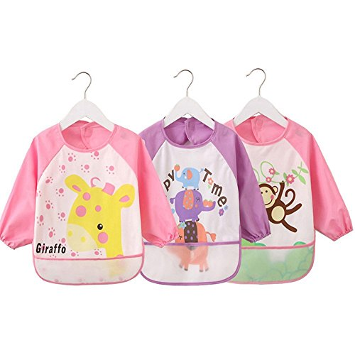 4G-Kitty Waterproof Bib with Sleeves&Pocket, Unisex Kids Childs Arts Craft Painting Apron 6-36 Months 3pcs (A) (4g Bumper)