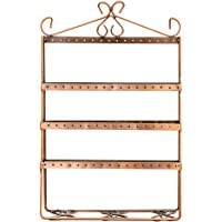 Homeofying Rustic Personalized Vintage Retro Country Style 4-Tier Durable Jewelry Stand Rack Earrings Display Organizer Holder Props Shelf Bronze
