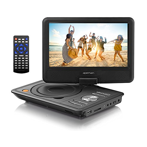 APEMAN Portable DVD Player with Swivel Screen Built-in Rechargeable Battery SD Card and USB Supported Direct Play in Formats AVI/RMVB/MP3/JPEG