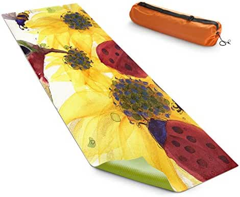 DiaNoche Yoga Mats by Dawn Derman Sunflowers Ladybugs