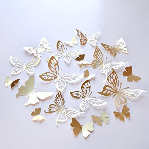 Amazon.com: 20 Gold Butterfly Wall Decor, Butterfly