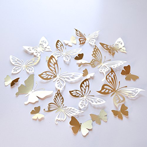 20 Gold Butterfly Wall Decor Wedding Decoration Butterflies Paper
