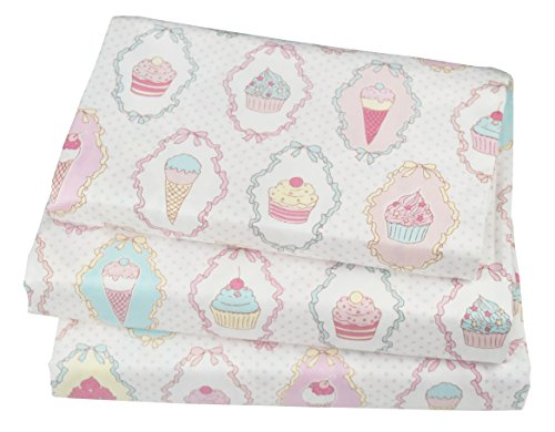 J-pinno Cute Cartoon Ice Cream Cup Cake Printed Twin Sheet Set for Kids Girl Children,100% Cotton, Flat Sheet + Fitted Sheet + Pillowcase Bedding Set (Girl Twin Bed Sheets)