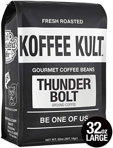 (Koffee Kult Thunder Bolt Ground Coffee, French Roast Colombian Artisan Roasted - 32 ounce)
