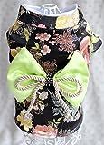 Cheap Dogloveit Brocade Japanese Kimono Style Dress Dog Clothes For Puppy Cat,Black,Medium