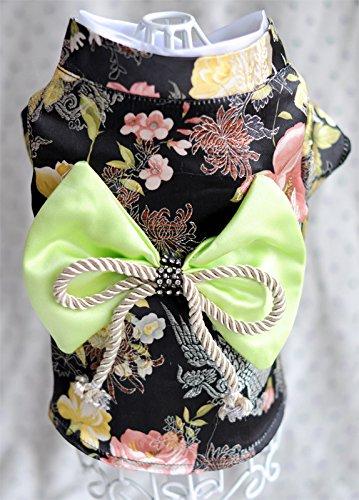 Dogloveit Brocade Japanese Kimono Style Dress Dog Clothes For Puppy Cat,Black,Medium