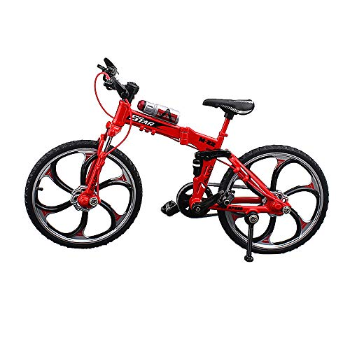 Urchins' Family Alloy Mini Bicycle Toy - Finger Bike for Collections (Folding Mountain Bike Red)
