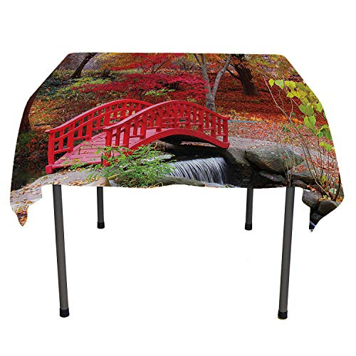 Japanese Decor Collection Kitchen Table Cover Asian Garden with Oak Colored Cute Little Bridge Nature in November October Fall View Washable Outdoor Table Cloth Spring/Summer/Party/Picnic 60 by 84 ()