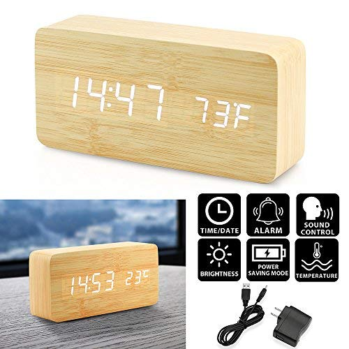 (Oct17 Wooden Digital Alarm Clock, Wood Fashion Multi-function LED Alarm Clock with USB Power Supply, Voice Control, Timer, Thermometer - Bamboo)