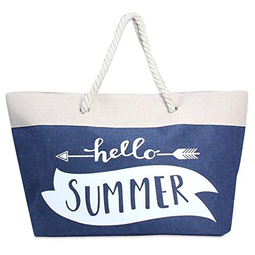 Handles Rope Braided - Me Plus Summer Large Beach Tote Bag Zipper Closure Braided Rope Handles Inner Pocket (Hello Summer-Navy)