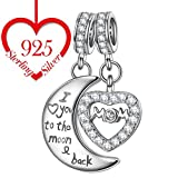 "NINAQUEEN 925 Sterling Silver Charms as ♥Mothers Day Gifts♥ Engraved with ""Mom I Love You to the Moon and Back"" Double Dangle Pendant Beads Great for Necklace"