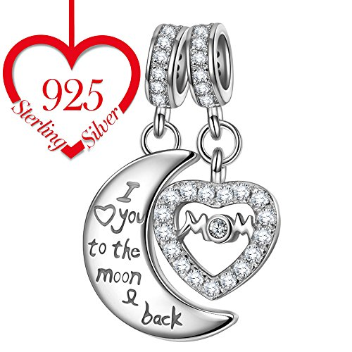 """NINAQUEEN 925 Sterling Silver Charms as ♥Mothers Day Gifts♥ Engraved with """"Mom I Love You to the Moon and Back"""" Double Dangle Pendant Beads Great for Necklace"""