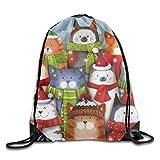 Cat Caroling Christmas Drawstring Bags Portable Backpack Pocket Bag Travel Sport Gym Bag Yoga Runner Daypack