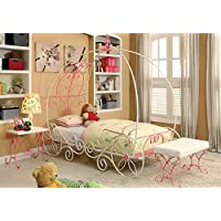 1PerfectChoice Enchant Youth Princess 3D Carriage Metal Pink White Full Bed Night Stand Bench