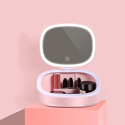 SGLI Espejo LED De Almacenamiento Casete Cosmética, Caja De Almacen Productos De Cuidado De La Piel (Color : Pink): Amazon.es: Hogar