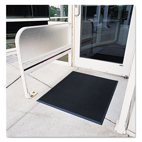Crown Finger-Tip Indoor/Outdoor Scraper Mat, Molded Rubber, 36 x 72, Black - Includes one floor mat. Rubber Fingertip Mats