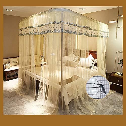 Three Open Doors Mosquito Net Bed Canopy Floor-Standing Rail Type Folding Retractable Net Tent Indoor Decorative,Purple,150200CM by LINLIN MOSQUITO NET (Image #3)