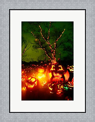 Jack o' lanterns lit up at night, Roger Williams Park Zoo, Rhode Island Framed Art Print Wall Picture, Flat Silver Frame, 19 x 24 inches -