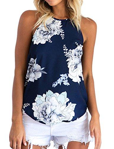 Sherosa Women's Casual Spaghetti Strap Floral Print Tank Tops Camis Shirt (S, -