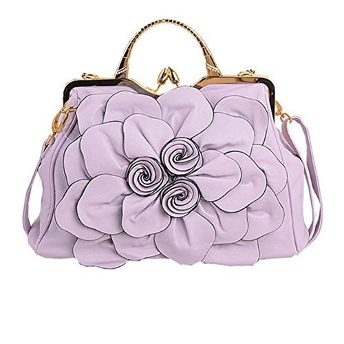 Moonwind Rose Satchel Shoulder Bag Women PU Leather Frame Crossbody Tote Handbag ( Light Purple ) (Rose Purse Leather Purple)