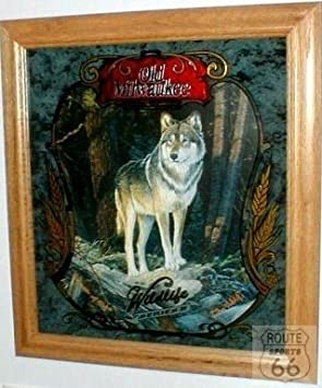 Old Milwaukee Beer Timber Wolf Mirror Amazonca Sports Outdoors