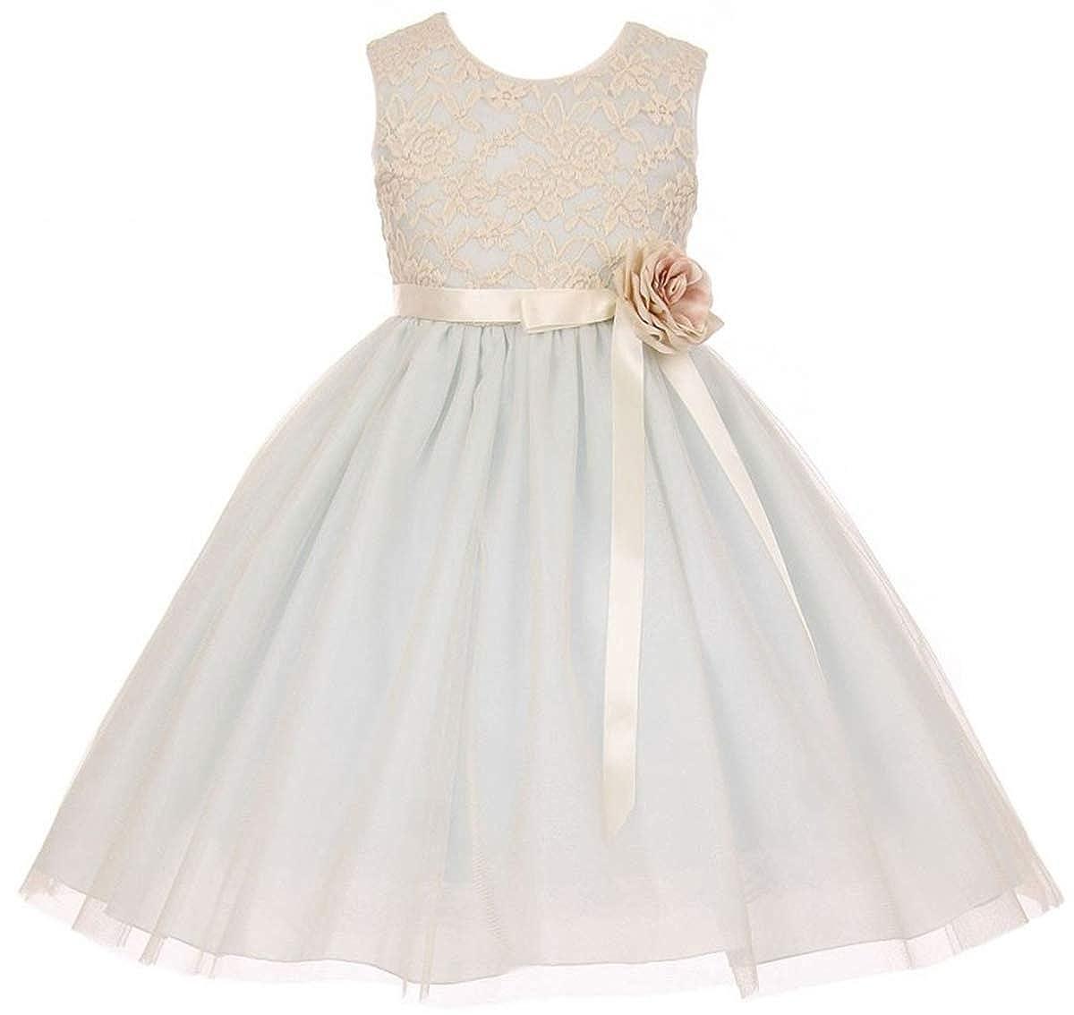 0ca57528500 Amazon.com  Little Girls Elegant Contrast 3D Lace Tulle Easter Graduation  Flower Girl Dress  Clothing