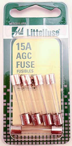Littelfuse AGC15BP AGC Series 3AG Glass Cartridge Fuse - Pack of 5 (Fuses Glass Agc Series)