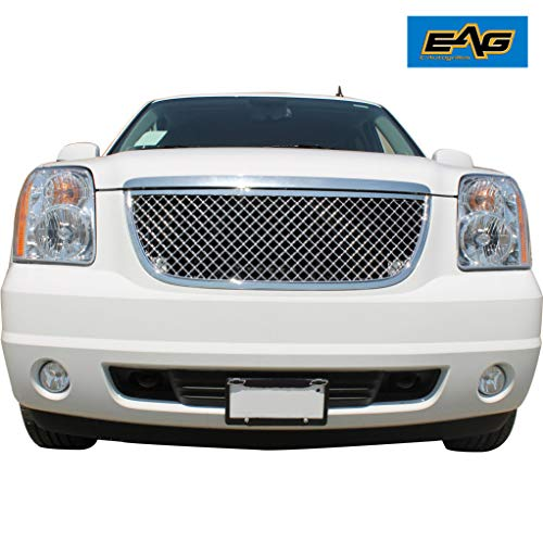 EAG Mesh Replacement Grille Chrome Front Full Grill with Shell Fit for 07-14 GMC Yukon/07-14 GMC Yukon XL