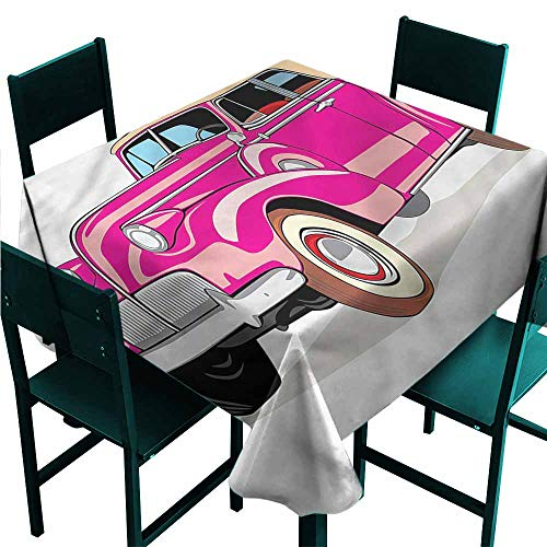 DONEECKL Waterproof Tablecloth Cars Convertible from Fifties Table Decoration W60 xL60