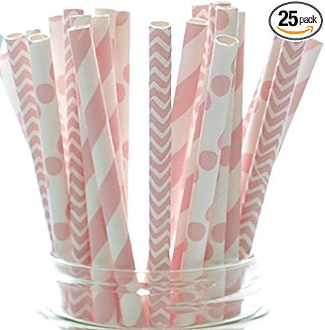 Free Printable Straw Flags 25 Paper Light Pink and White Chevron Pattern Straws