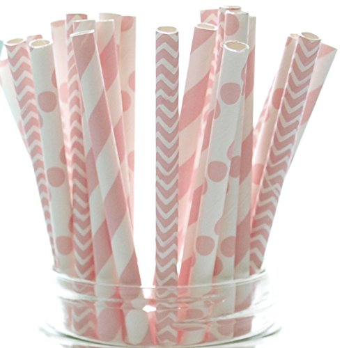 Baby Girl Pink Baby Shower Straws (25 Pack) - Baby Shower Supplies, Princess Girls Birthday Party Straws, Stripe Chevron & Polka Dot Light Pink Paper (Baby Shower Clearance)