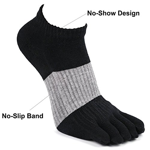 Toe Socks, PACKGOUT Five Finger Socks Athletic Running No Show Crew Socks for Men and Women, 6 Pairs Socks Included