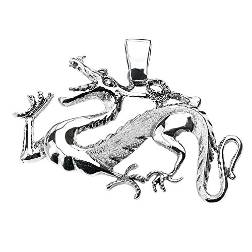 (Good Luck Charms 925 Sterling Silver Chinese Dragon Charm Necklace Pendant)