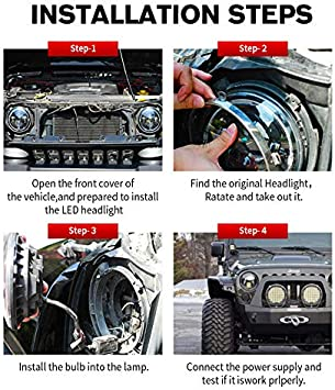 Easygo Replacement for Wrangler 2007-2017 JK 7 Inch Round LED Headlight Halo Angle Eyes DRL Turn Signal Light Pair