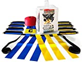 10 Player Flag Football Set by Voplop - 52 Piece Heavy Duty Kit - 10 Belts with 3 Flags per Belt - 10 Field Cones and Carry Bag & Bonus 2 Captain Armbands Set for Boys and Girls